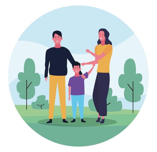 Glückliche familie mit sohn, buntes design