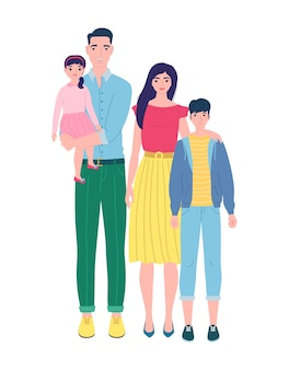 Glückliche familie mit zwei kindern, lokalisiert auf weiß. illustration im flachen stil, kann auf postkarten, einladungen, flyern, plakaten, werbung verwendet werden.