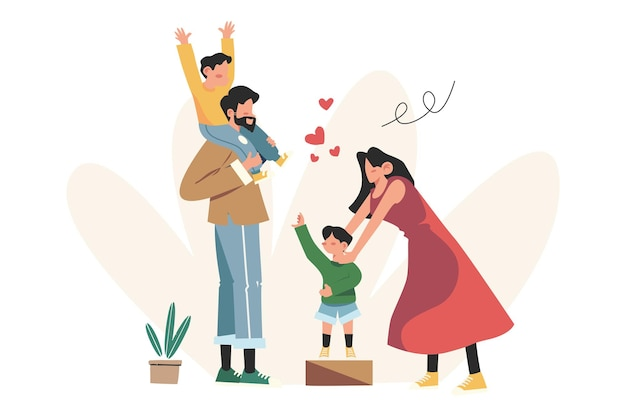 Glückliche familie mutter vater tochter sohn händchen haltend und umarmend