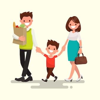 Glückliche familie. papa mama und sohn gehen nach hause illustration