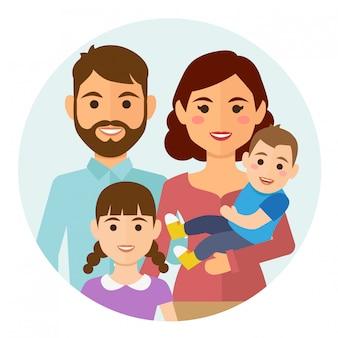 Glückliche familie rundes symbol