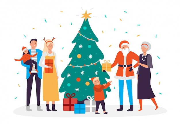 Glückliche familie schmückt weihnachtsbaum. feiertagsdekorationen und weihnachtsgirlanden, leute, die neujahrsbaumillustration verzieren