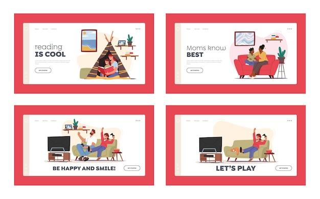 Glückliche familie sparetime landing page template set