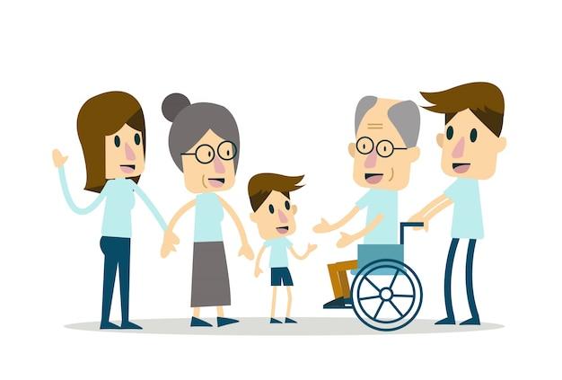 Glückliche familie und altenpflege. flache charaktergestaltung. vektor-illustration