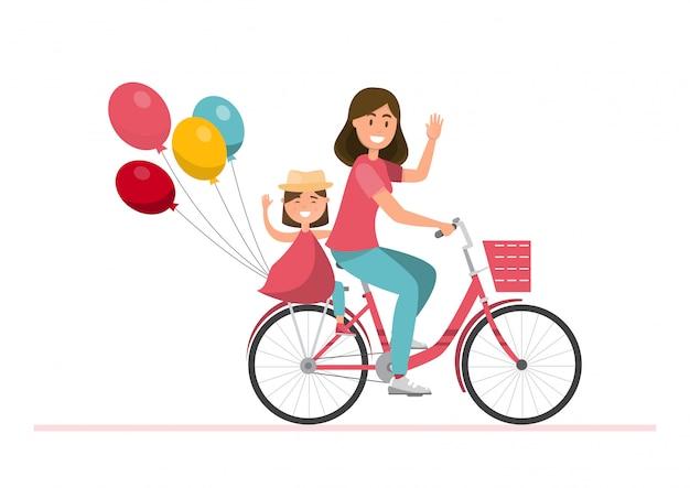 Glückliche familie. vater, mutter, junge und mädchen zusammen auf einem fahrrad fahren