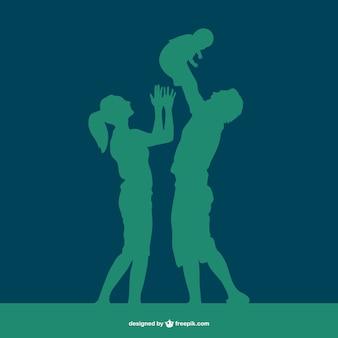 Glückliche familie, vektor-silhouette