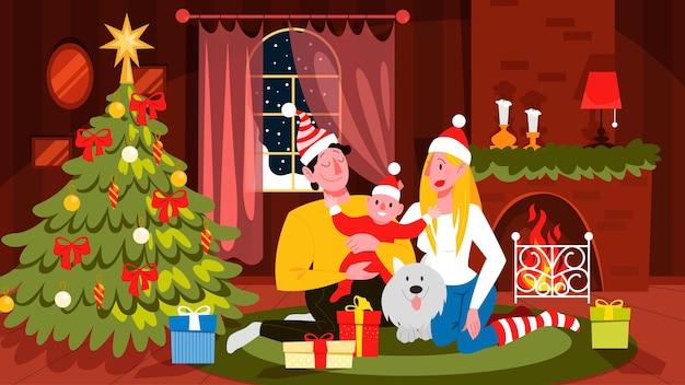 Glückliche familie viel spaß auf der weihnachtsfeier. hausparty. neujahr feiern. wohnzimmer interieur. illustration im cartoon-stil
