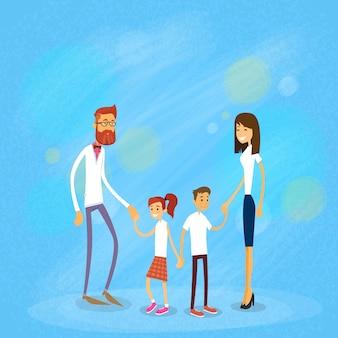 Glückliche familie vier leute, eltern mit zwei kindern