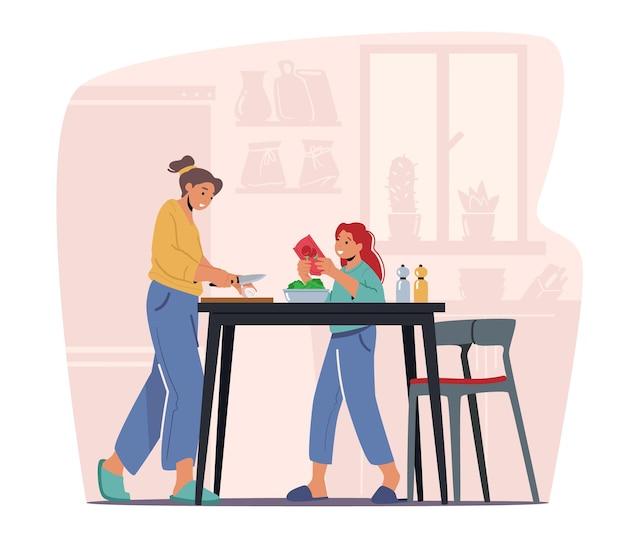 Glückliche familie von mutter und tochter im teenageralter, die zu hause kochen, essen in der küche zubereiten. frau unterrichtet mädchen gesundes essen und kochen rezepte von gemüse, vitamin-ernährung. cartoon-vektor-illustration