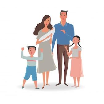 Glückliche familie von vater, mutter, schwester und sohn.