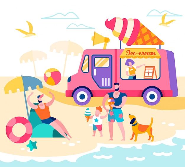 Glückliche familie von vater und sohn am strand entspannen