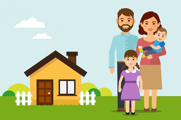 Glückliche familie zieht in ein neues haus