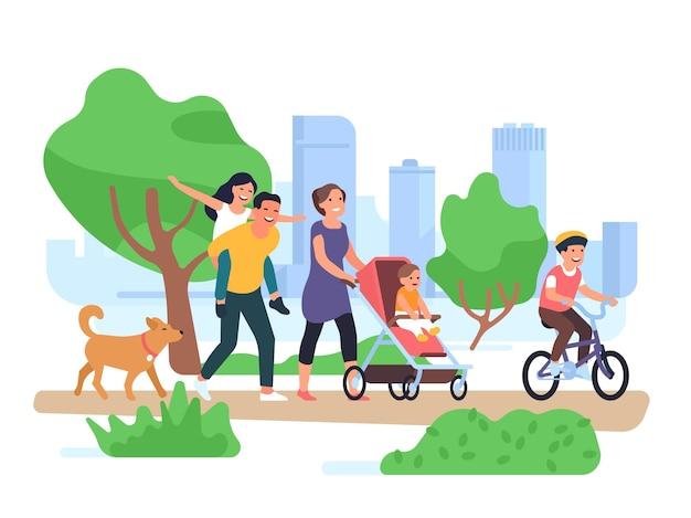 Glückliche familie zu fuß. paar mit kindern spazieren park, sohn auf dem fahrrad, kleinkind im kinderwagen, lustige tochter auf vater-rücken-vektor-konzept