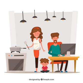 Glückliche familie zu hause mit flachem design