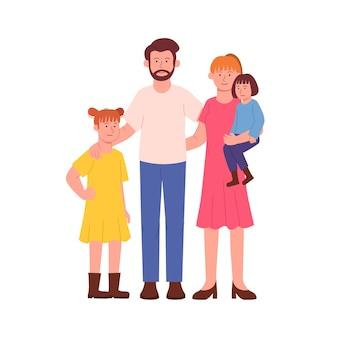 Glückliche familie zusammen cartoon illustration