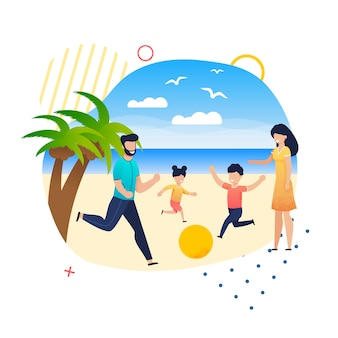 Glückliche familien-freizeit auf sommerferien am strand