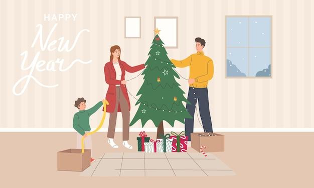 Glückliche familien mit kindern im winterurlaub zu hause fröhliche leute, die den weihnachtsbaum schmücken
