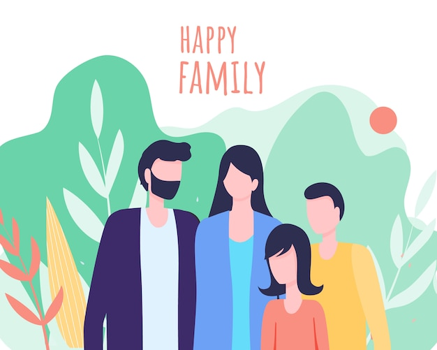 Glückliche familien-vektor-illustration