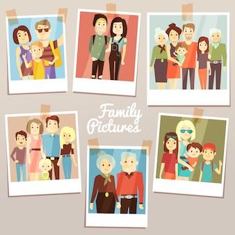Glückliche familienbilder mit unterschiedlichem generationsvektorsatz. erinnerungen an familienfotos. großvater und großmutter, familienfotoillustration