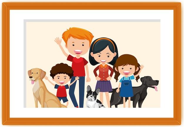 Glückliche familienbildkarikatur in einem rahmen