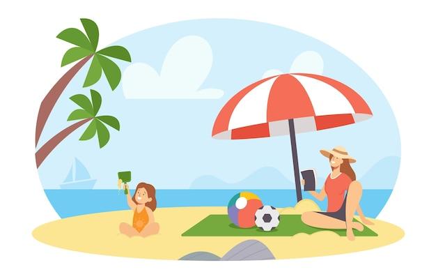 Glückliche familiencharaktere mutter und tochter am sommerstrand. mutter lesen, mädchen sandburg bauen und am meer spielen. frau und kind urlaub freizeit, entspannen. cartoon-menschen-vektor-illustration