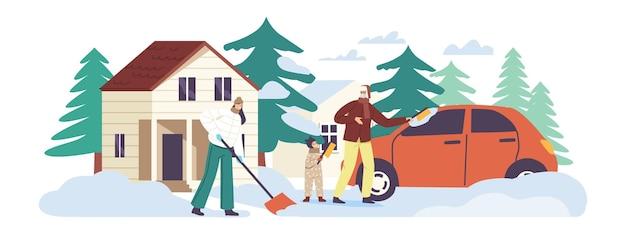 Glückliche familiencharaktere reinigen haushofstufen und auto vom schnee. mann und mädchen entfernen schneewehe mit schaufeln oder bürsten, die nach schneefall schnee vom vorgarten reinigen. cartoon-menschen-vektor-illustration