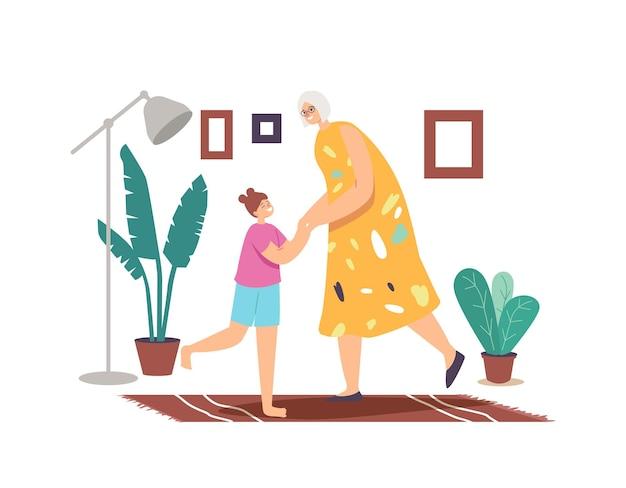 Glückliche familiencharaktere tanzen zu hause, freizeit am wochenende, freizeit. kleines mädchen und oma freuen sich zusammen händchen haltend tanzen bewegen körper im musikrhythmus. cartoon-menschen-vektor-illustration