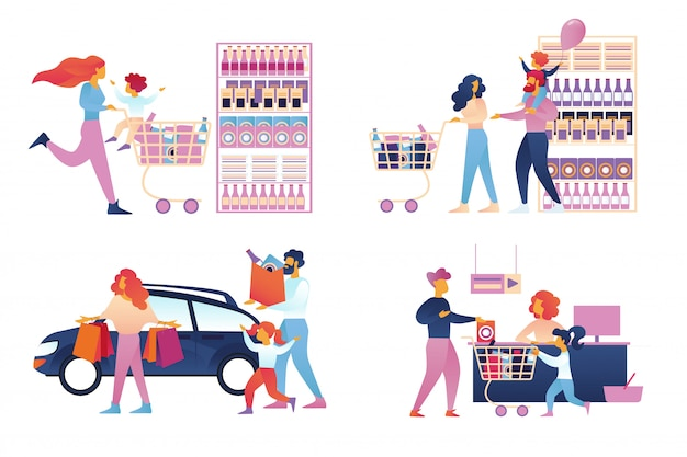 Glückliche familieneinkaufssatz getrennt. supermarkt