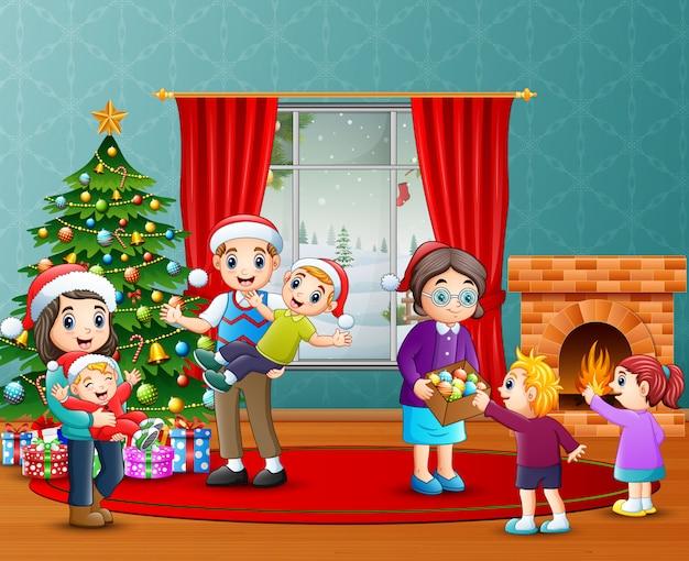Glückliche familienfeier ein weihnachten im wohnzimmer