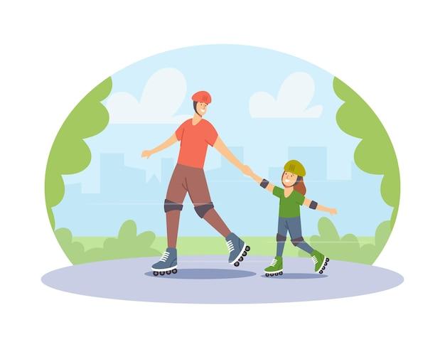 Glückliche familienfiguren, die rollschuhe im city park reiten. junger vater und kleine tochter aktives hobby, sportaktivitäten