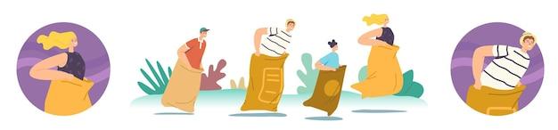 Glückliche familienfiguren mutter, vater und kinder, die in taschen springen. sack race sommer-outdoor-wettbewerb, hüpfendes fröhliches spiel in parkland oder stadion. cartoon-leute-vektor-illustration, runde symbole