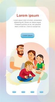 Glückliche familienheim-freizeit-web-fahnen-schablone