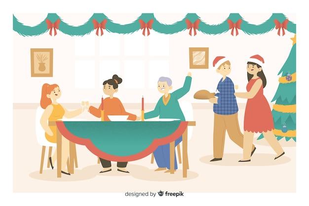 Glückliche familienkarikatur, die für weihnachtsabendessen sich erfasst