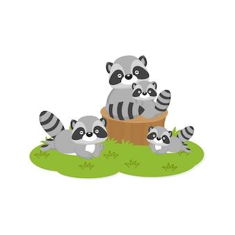 Glückliche familienkarte. nette waschbärfamilie