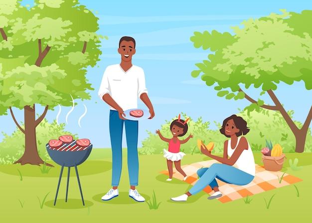 Glückliche familienleute auf dem grill picknick mutter vater und mädchen haben spaß zusammen, genießen essen natur