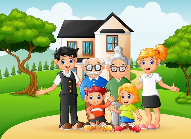 Glückliche familienmitglieder der karikatur im vorgarten des hauses