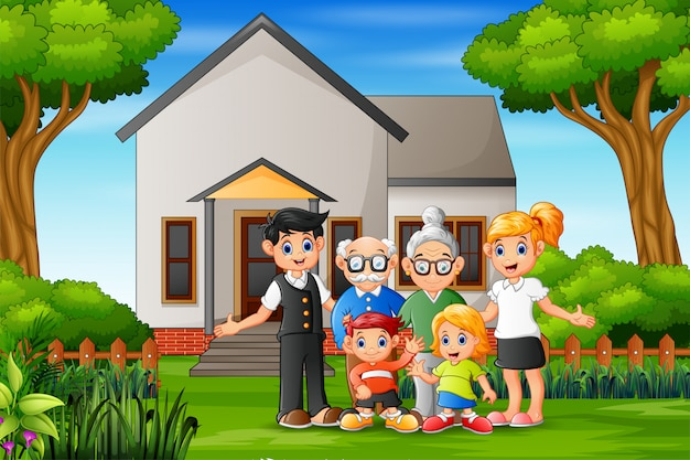 Glückliche familienmitglieder im vorgarten des hauses