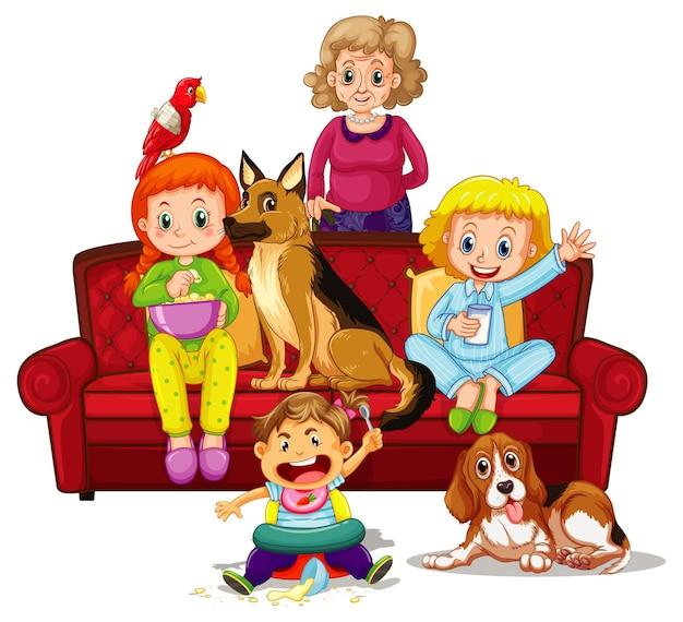 Glückliche familienmitglieder und haustiere