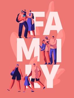 Glückliche familienmotivation typografie banner. sohn mutter und vater charakter auf gruß poster. eltern umarmen kind auf werbekartenvorlage. flache karikatur-vektor-illustration der vertikalen broschüre des feiertags