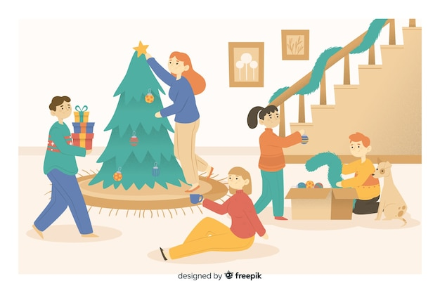 Glückliche familienöffnungsgeschenke um weihnachtsbaum