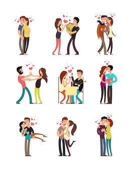 Glückliche familienpaare in der liebe. hochzeitsleute-vektorzeichentrickfilm-figuren