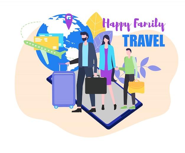 Glückliche familienreise-vektor-illustration. vater mutter kind mit koffer