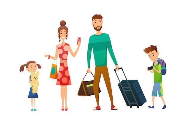 Glückliche familienreise zusammen mit gepäck und koffer. familienreisen. vater mutter, sohn und tochter am flughafen. familie im urlaub