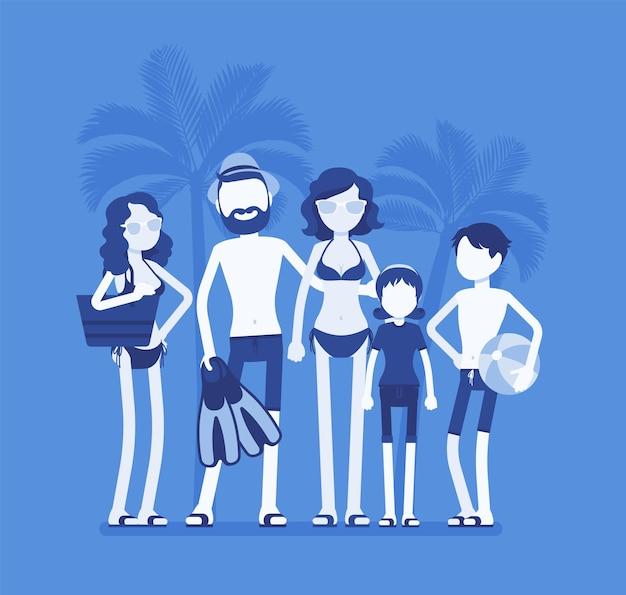 Glückliche familienruhe bei der resortillustration