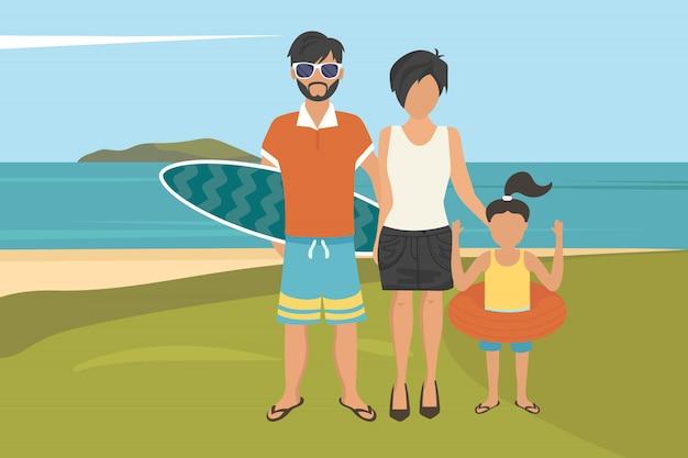 Glückliche familiensommerferien