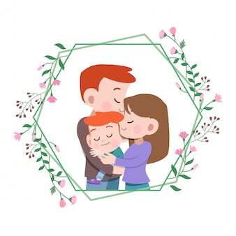 Glückliche familientageskartengruß-vektorillustration