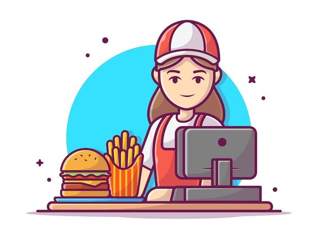 Glückliche fast-food-verkäuferin, die uniform mit registrierkasse und hamburger-illustration trägt