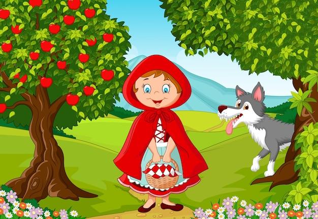 Glückliche feenhafte prinzessinrobe mit wolf im dschungel