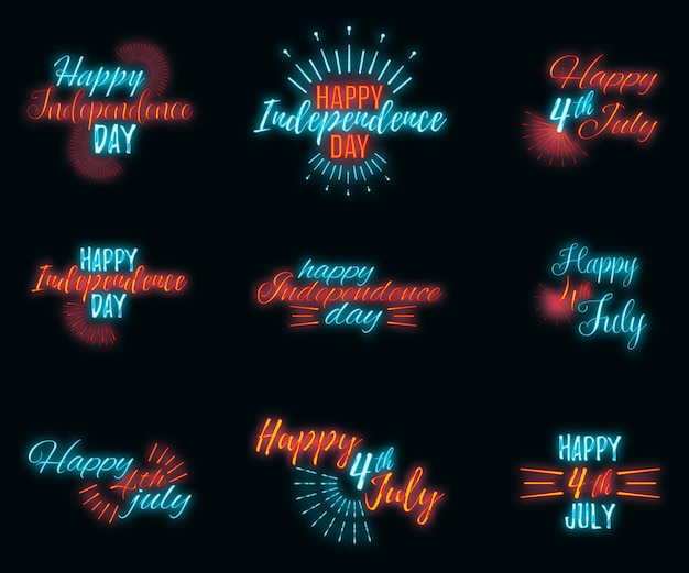 Glückliche feier grußkarte 4. juli, konzept glühen neon-stil schrift text independence day zitat phrase vektor-illustration auf schwarzem wand hintergrund.
