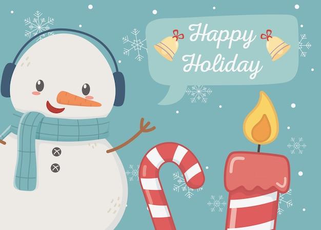 Glückliche feiertagskarte der schneemannzuckerstangekerze